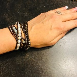 Pearls and leather wrap